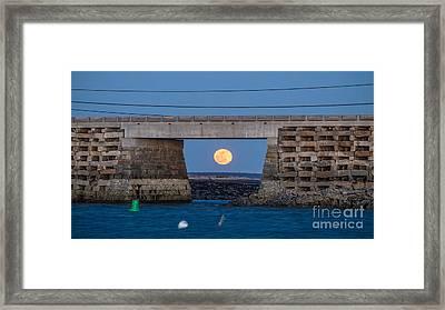 Full Moon Under The Cribstone Bridge Framed Print
