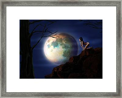 Full Moon Framed Print by Virginia Palomeque