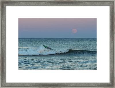 Full Moon Wipe Out Seaside Nj Framed Print by Terry DeLuco