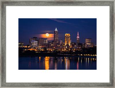 Full Moonrise Over Cleveland Framed Print