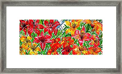 Full Picture Lilies Framed Print by Nancy Rucker