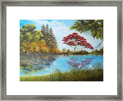 Full Red Tree Framed Print by Dennis Vebert
