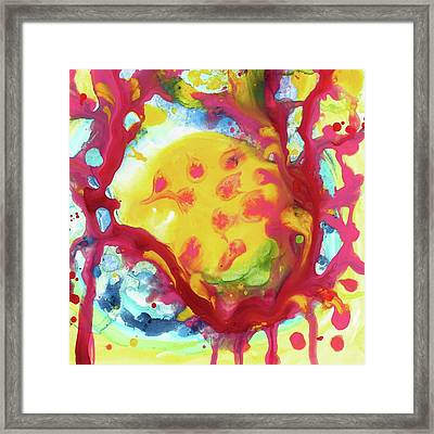 Full Yellow Moon Resting In A Tree Framed Print by Amy Vangsgard