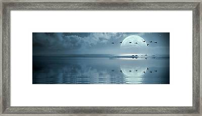 Fullmoon Over The Ocean Framed Print by Jaroslaw Grudzinski