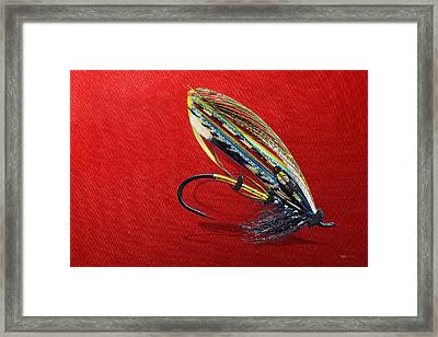 Fully Dressed Salmon Fly On Red Framed Print by Serge Averbukh