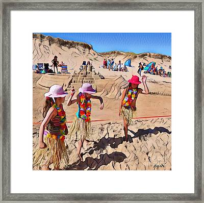 Fun At The Beach  Framed Print by Aline Halle-Gilbert