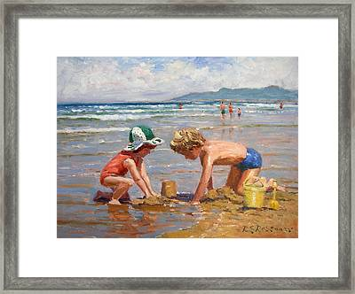 Fun At The Beach Framed Print by Roelof Rossouw