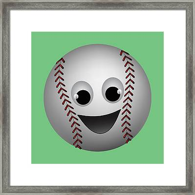 Fun Baseball Character Framed Print by MM Anderson