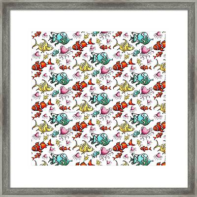 Fun Colorful Tropical Fish Pattern For Kids By Megan Duncanson Framed Print by Megan Duncanson