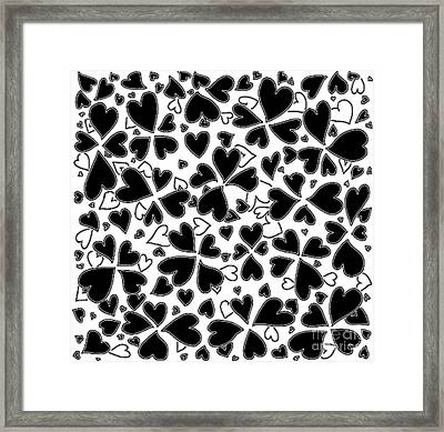 Fun Contemporary All Over Hearts Pattern In Black And White By Megan Duncanson Of Madart Framed Print by Megan Duncanson