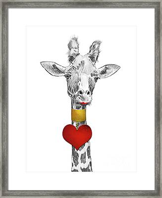 Fun Giraffe All Dressed Up With Lipstick And Heart Necklace Framed Print by Apostrophe Art