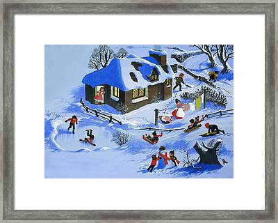 Fun In The Snow Framed Print by English School