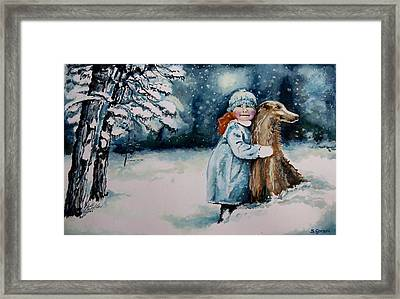 Framed Print featuring the painting Fun In The Snow by Geni Gorani