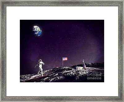 Framed Print featuring the digital art Fun On The Moon by Methune Hively