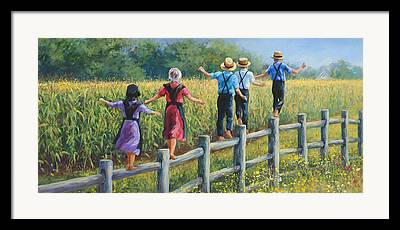 Amish Family Framed Prints