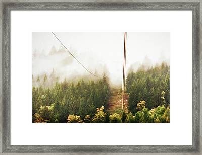 Funicolare View Of Foggy Forest In Alps Framed Print