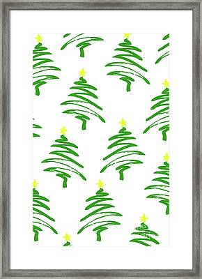 Funky Christmas Trees Framed Print