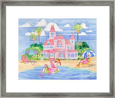 Funky Flamingo Hotel II Framed Print by Paul Brent
