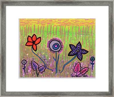 Funky Flowers In A Field Of Green Framed Print by Susan Schanerman
