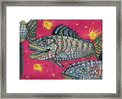 Funky Folk Fish Framed Print by Robert Wolverton Jr