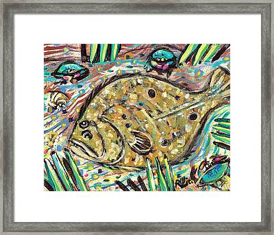 Funky Folk Flounder Framed Print by Robert Wolverton Jr