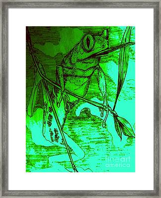 Funky Frog Framed Print