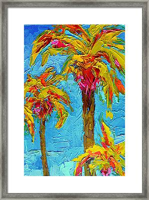 Funky Fun Palm Trees - Modern Impressionist Knife Palette Oil Painting Framed Print