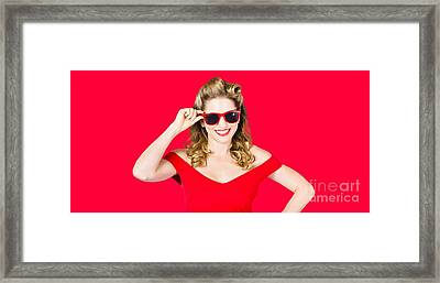 Funky Hip Pin-up Blonde In Summer Sunglasses Framed Print by Jorgo Photography - Wall Art Gallery