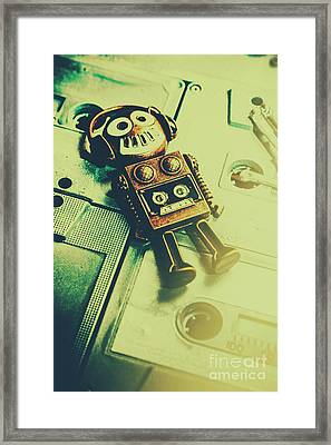 Funky Mixtape Robot Framed Print