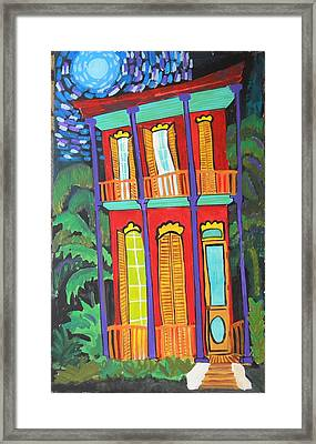 Funky Red House In New Orleans Framed Print by Linda MorganSmith