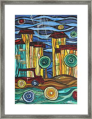 Framed Print featuring the painting Funky Town by Sladjana Lazarevic