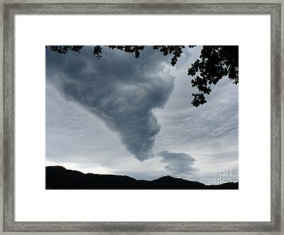 Framed Print featuring the photograph Funnel Cloud Over The Mountains by Menega Sabidussi