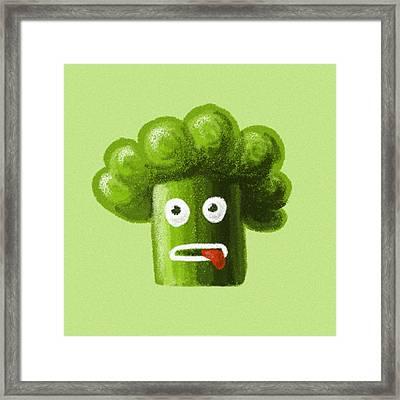 Funny Broccoli Framed Print