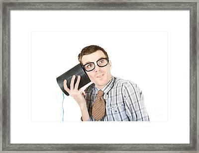 Funny Call Centre Staff Framed Print