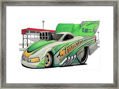 Funny Car Toon Framed Print by Lyle Brown