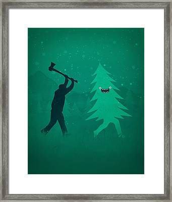 Funny Cartoon Christmas Tree Is Chased By Lumberjack Run Forrest Run Framed Print