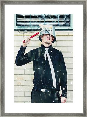 Funny Cleaner Man Ready For Action Framed Print by Jorgo Photography - Wall Art Gallery
