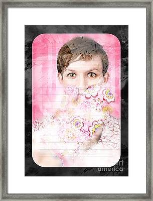 Funny Cooking Woman With Surprised Expression Framed Print