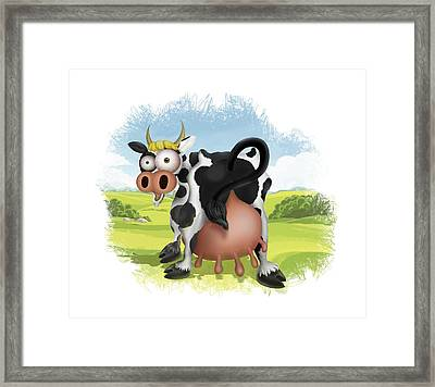 Framed Print featuring the drawing Funny Cow by Julia Art