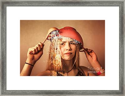 Funny Creative Cooking Pinup Girl Framed Print by Jorgo Photography - Wall Art Gallery