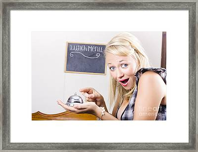Funny Customer Pressing Coffee Shop Service Bell Framed Print by Jorgo Photography - Wall Art Gallery