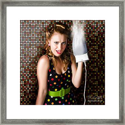 Funny Cute Cleaning Woman Ironing Retro Fashion Framed Print