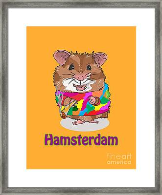 Funny Design Illustration Puns Hamsterdam The Wire Framed Print by Paul Telling