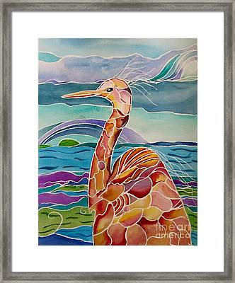Funny Egret Framed Print by Carolyn Weir
