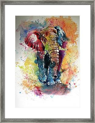 Framed Print featuring the painting Funny Elephant by Kovacs Anna Brigitta