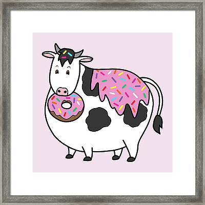 Funny Fat Holstein Cow Sprinkle Doughnut Framed Print by Crista Forest