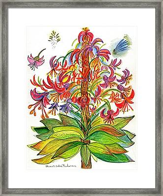 Funny Flowers On Green Plant Framed Print by Julie Richman