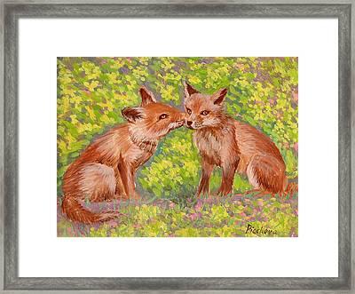 Funny Foxes .2007 Framed Print by Natalia Piacheva