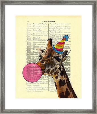 Funny Giraffe, Dictionary Art Framed Print by Madame Memento