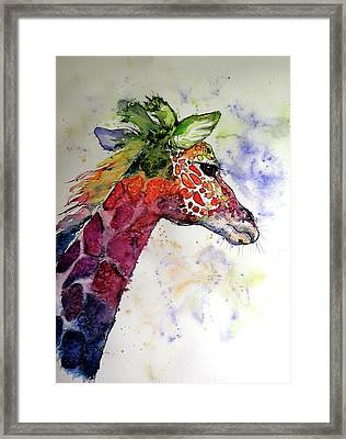 Framed Print featuring the painting Funny Giraffe by Kovacs Anna Brigitta